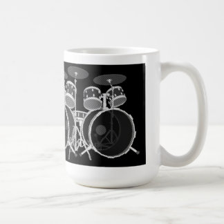 Drum Set (black & white) - Coffee Mug