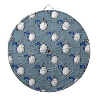 Drum Set; Blue Dartboard With Darts