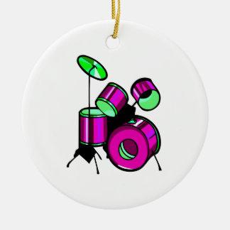 Drum Set Graphic Purple  image design Ceramic Ornament