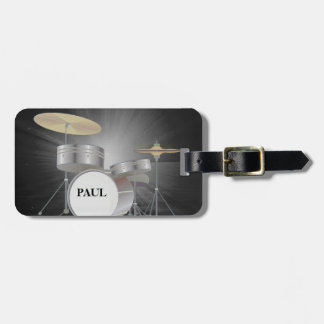Drum Set Luggage Tag with Leather Strap
