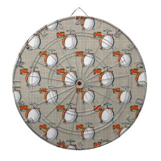 Drum Set; Orange Drums Dart Boards