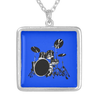 Drum Set Pendant with Blue Background