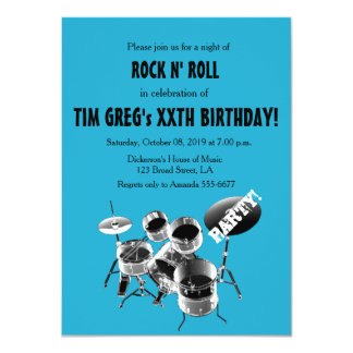 Drum Set Rock n' Roll Rocker Birthday Party Announcements