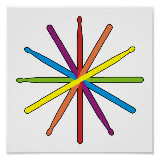 Drum Stick Color Star Poster