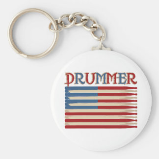 Drum Stick USA Flag Drummer Tees and Gifts Basic Round Button Key Ring
