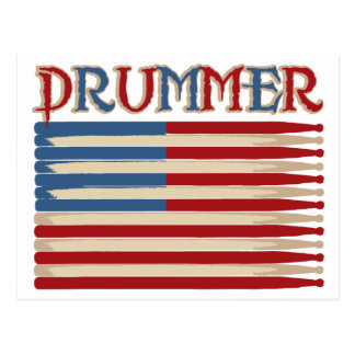 Drum Stick USA Flag Drummer Tees and Gifts Postcard