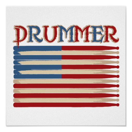 Drum Stick USA Flag Drummer Tees and Gifts Print