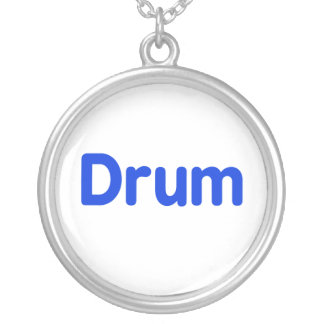 drum text blue music design round pendant necklace