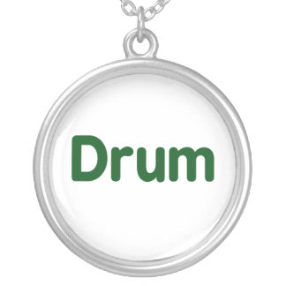 drum text green music design round pendant necklace