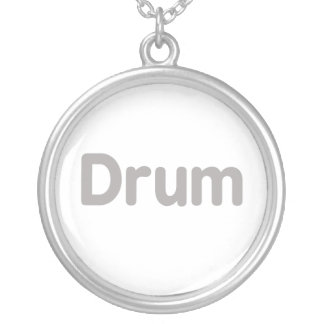 drum text grey music design round pendant necklace