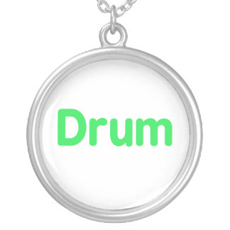 drum text mint music design round pendant necklace