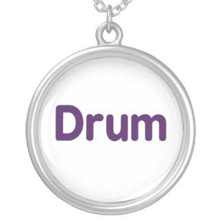 drum text purple music design round pendant necklace