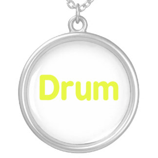 drum text yellow music design round pendant necklace