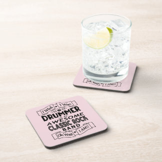 DRUMMER awesome classic rock band (blk) Coaster