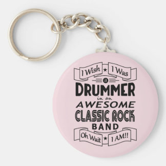 DRUMMER awesome classic rock band (blk) Key Ring