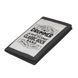 DRUMMER awesome classic rock band (blk) Tri-fold Wallets