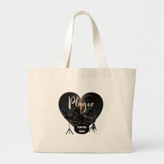 Drummer beating On Drums - Player From The Heart Large Tote Bag