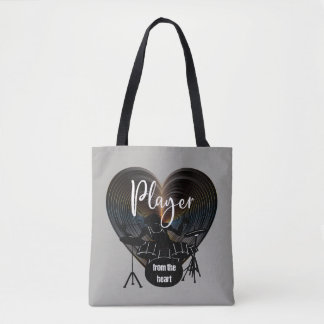 Drummer beating On Drums - Player From The Heart Tote Bag