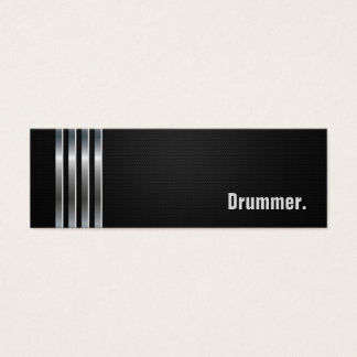 Drummer - Black Silver Stripes Mini Business Card