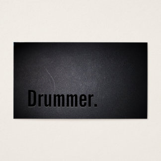 Drummer Bold Text Minimalist Cool Black Business Card