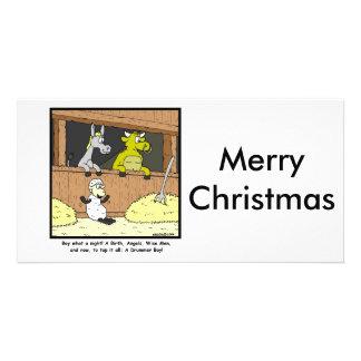 Drummer Boy: Christmas Cartoon Photo Greeting Card
