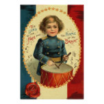 Drummer Boy Star Red White Blue Posters