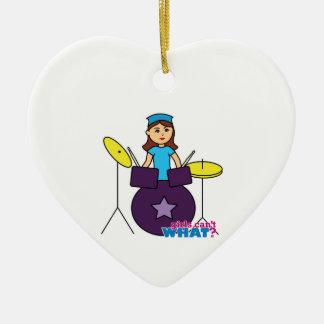 Drummer Girl Ceramic Heart Decoration