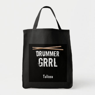 Drummer Girl Gift Drumsticks Tote Bag Personalized
