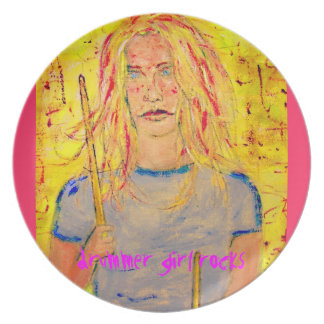 drummer girl rocks party plates