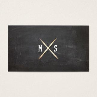 Drummer Grunge and Gold Drumsticks Black Business Card