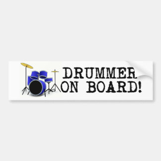Drummer on Board Bumper Sticker