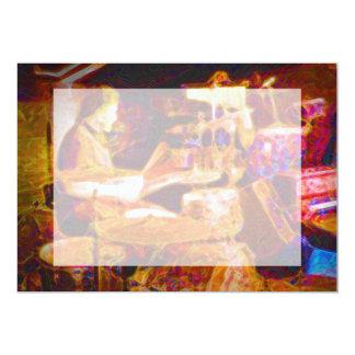 "drummer on stage  behind kit artistic.jpg 5"" x 7"" invitation card"