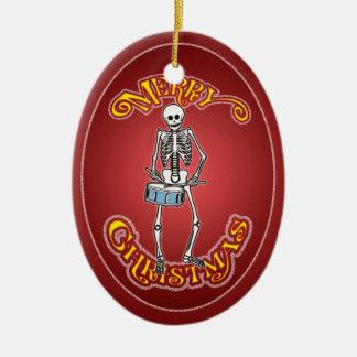 Drummer Skeleton Christmas Ornament