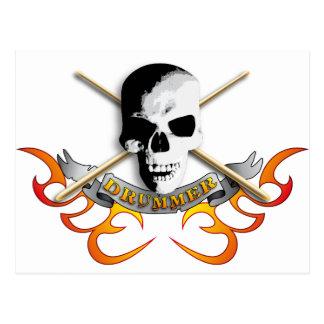 Drummer skull C Postcard