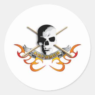 Drummer skull C Round Sticker