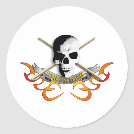 Drummer skull C Stickers