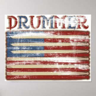 Drummer Vintage Weathered Poster