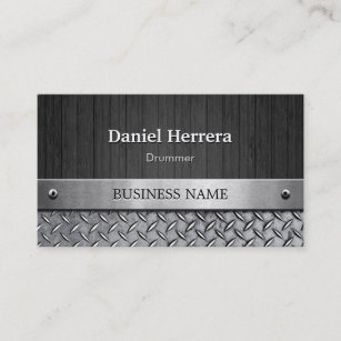 Band drummer business cards zazzle au drummer wood and metal look business card colourmoves