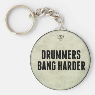 Drummers Bang Harder Funny Drum Head Key Chain