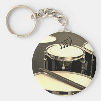Drummer's Keychain featuring drums/notes