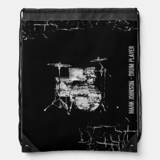drummers personalized drawstring bag
