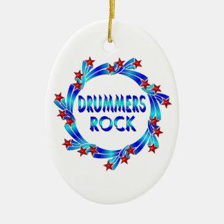 Drummers Rock Red Stars Ceramic Ornament