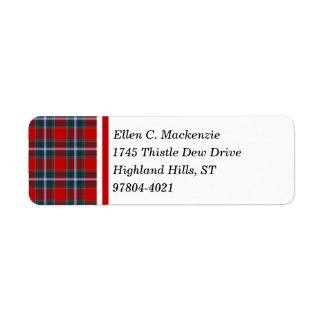 Drummond Clan Bright Red and Sky Blue Tartan Return Address Label