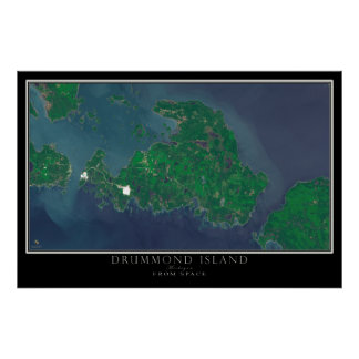 Drummond Island Michigan From Space Satellite Map Poster