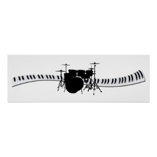 Drums and Piano keyboard banner Poster