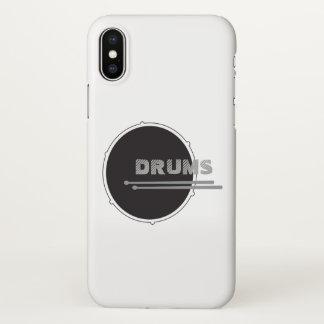 Drums Drummer Punk Rock Minimal Black Music Cool iPhone X Case