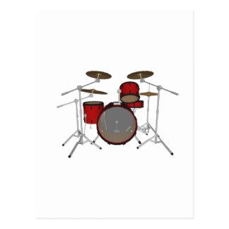 Drums Red Drum Kit 3D Model Post Card