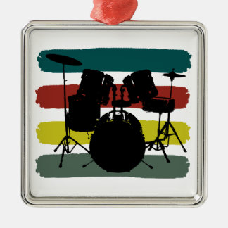 Drums Set and Stripes Retro Christmas Ornament