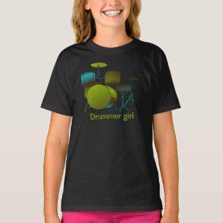 Drums T-shirt Green/blue with Text