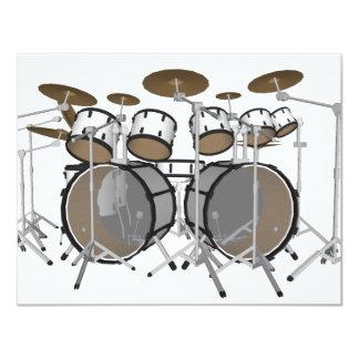 Drums: White Drum Kit: 3D Model: 11 Cm X 14 Cm Invitation Card